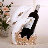 海豚红酒架摆件现代简约客厅创意家居酒柜吧台家装饰品6689 海豚酒架(白+玫)