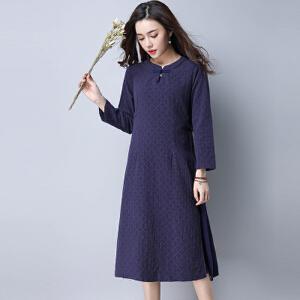 【当当年中庆】棉麻女装大码宽松连衣裙新款文艺复古长袖裙子