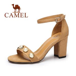 camel骆驼女鞋 2017夏季新款韩版绒面凉鞋女 舒适方跟高跟凉鞋