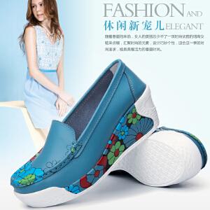 东帝名坊新款印花摇摇鞋舒适坡跟休闲女鞋