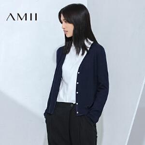 【AMII超级大牌日】[极简主义] 2017年春款新品修身单排暗扣短毛针织衫11673219