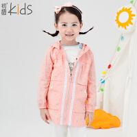 初语童装 2016新款 女童风衣 连帽波点外套 T5306210012