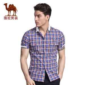 骆驼&熊猫 联名系列男装薄款青年修身尖领时尚格子纯棉短袖衬衫男