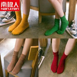 3条装 韩国堆堆袜女韩版日系复古条纹森系秋冬季棉袜潮中筒袜长筒袜子女