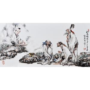 [听琴图]釉上彩瓷板 李华中国当代著名人物画家