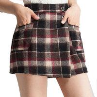 秋冬女裤裙格子短裤裙裤女靴裤打底短裤裙