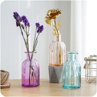 彩色细口插画玻璃花瓶家居客厅办公室创意装饰摆件简约插花瓶