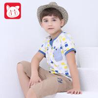 小猪班纳 男童t恤短袖夏纯棉中大童2017夏季新款儿童短袖t恤男