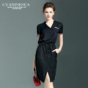 海青蓝夏装新款女装纯色个性一步裙V领短袖通勤OL连衣裙5015
