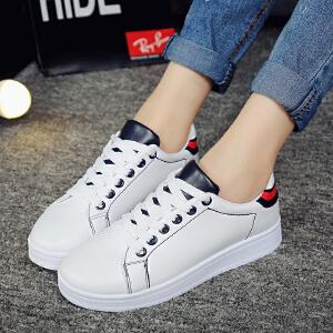 2017新款夏季休闲鞋女透气单鞋学院风学生鞋韩版百搭系带小白鞋低帮女鞋