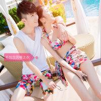情侣泳衣套装 沙滩温泉度假 泳装女大胸钢托聚拢比基尼三件套