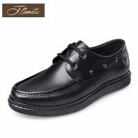 J.benato宾度男鞋春季男士系带皮鞋商务休闲鞋子厚底平跟帆船鞋男