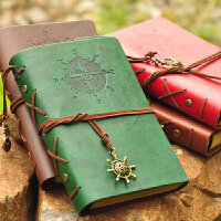 木墨原创 包邮 航海日记本创意复古牛皮纸皮革记事本 精美旅行笔记本子盒装