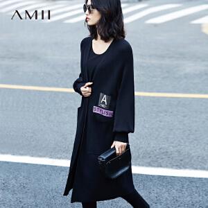 Amii[极简主义]2017春新宽松插肩印花贴袋灯笼袖毛针织衫11791352