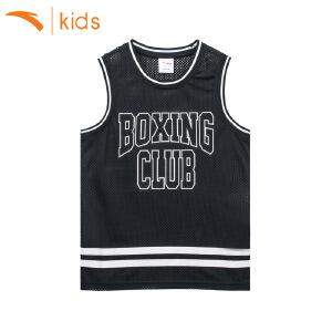 安踏童装运动背心男童跑步速干 训练篮球服T恤无袖足球服35728101