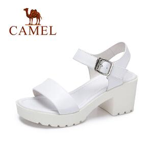Camel/骆驼2017新款夏季简约舒适凉鞋女方跟高跟女鞋