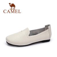 【专区满200减100】骆驼女鞋 2017春季新款 韩版简约套脚纯色浅口鞋 平底单鞋