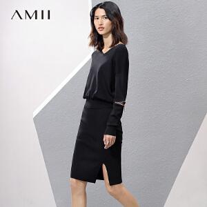 【预售】Amii2017春新修身V领拉链落肩开衩针织套装裙11741387