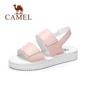 camel骆驼女鞋 2017春夏新款 欧美风休闲厚底鞋弹力带松糕凉鞋