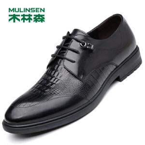 木林森男鞋 商务经典正装鞋英伦系带头层牛皮皮鞋77053003