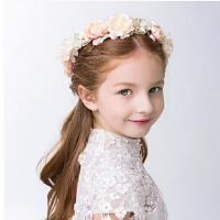 新款时尚女童花环蕾丝带发箍 新年花童配饰头箍儿童发饰