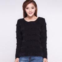 毛衣女秋冬季女装韩版宽松新潮长袖圆领短款厚打底拉毛针织衫套头