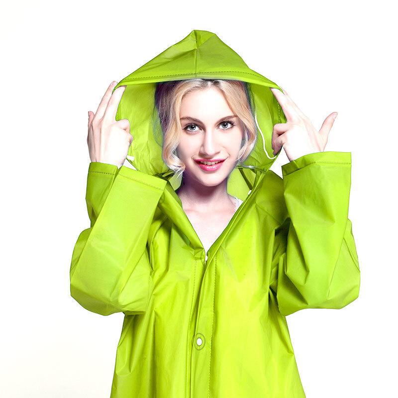 户外时尚eva半透明磨砂感成人雨衣雨披 男女士长款带帽 jh01 绿色m