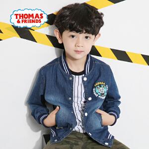 【券后150-70】托马斯童装男童秋装时尚纯棉牛仔衫中童印花立领棒球衣外套
