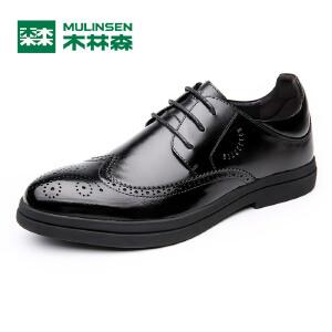 木林森男皮鞋 秋季新款男士商务正装皮鞋 布洛克男皮鞋05367001