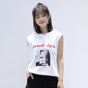 【当当年中庆】2017夏季新款韩版女装宽松显瘦中长款带帽无袖套头卫衣女学生
