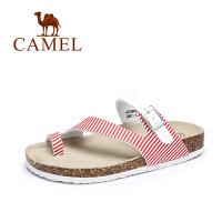 Camel/骆驼女鞋 2017夏季新款 休闲轻便PVC夹趾凉拖 女平底沙滩凉鞋