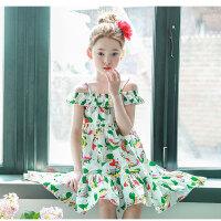夏装新品韩版童装女童波西米亚吊带裙儿童沙滩裙一字领长裙