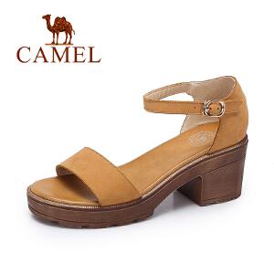 Camel/骆驼女凉鞋 夏季新品时尚复古凉鞋女 简约复古高跟凉鞋