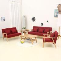 未蓝生活布艺单双人沙发日式实木小户型简约沙发椅亚麻客厅书房阳台沙发组合 水立方 三人位