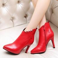 娜箐箐冬新款尖头短靴细跟超高跟真皮女靴时尚头层牛皮靴子