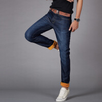 新款韩版加绒加厚牛仔裤中腰直筒宽松时尚潮男秋冬保暖牛仔裤