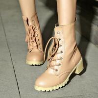 韩版磨砂真皮粗跟切尔西靴马丁靴女靴子高跟及踝靴短靴女