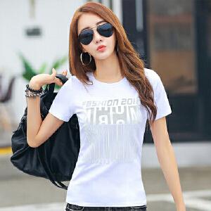 纯白t恤短袖女韩国2017春夏新品女装上衣体恤圆领显瘦半袖打底衫WK0632