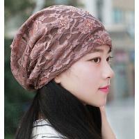 韩版时尚蕾丝头巾帽 透气光头孕妇女帽 包头帽堆堆帽空调帽