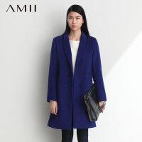 【AMII超级大牌日】[极简主义]2016春冬新品小翻领及膝中长款羊毛毛呢大衣外套11470524