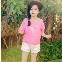 童短袖夏款中大童韩版女童装T恤亲子装童装