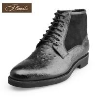 jbenato宾度男鞋商场同款英伦男靴 保暖加绒马丁靴商务短靴皮靴男