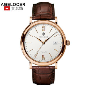 agelocer艾戈勒 瑞士进口品牌手表 复古手表男士皮带防水全自动机械表轻薄男表