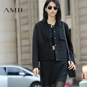 【AMII超级大牌日】[极简主义]2017年春女新款纯色立领长袖大码棒球服外套11672112
