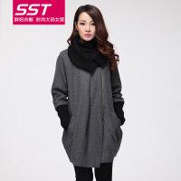 大码女装2017冬装新款胖mm韩版中长款毛呢大衣外套YX561