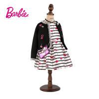 【满200减100】Barbie芭比女童装秋装小香风黑色外套绣花织章中大童开衫