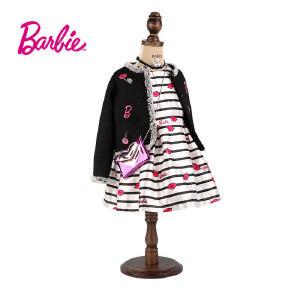 【券后150-70】芭比童装女童秋装小香风黑色外套绣花织章中大童开衫