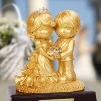 树脂金箔百年好合摆件结婚婚庆礼品家居婚房装饰工艺品7035 百年好合