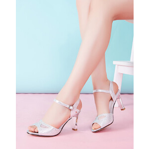 莎诗特2017夏季新款女鞋性感水钻纱网布搭扣粗跟高跟女凉鞋86032