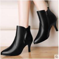 古奇天伦女鞋短靴春季新款高跟裸靴细跟尖头靴子女红色新娘鞋冬鞋加绒